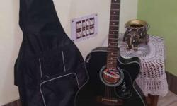 Black Cutaway Acoustic Guitar With Gig Bag