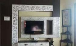 Black LCD TV;white Wooden Entertainment Unit