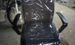Black Leather Rolling Chair With Pack