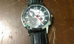 Black Leather Strap Silver Round Chronograph Watch