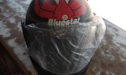 Black Red And White Bluestar Full Face Motorcycle