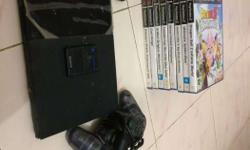 Black Sony PS2 Console With 2 Dualshock Controllers And