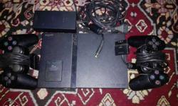 Black Sony PS2 Slim With Two DS2