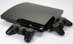 Black Sony Ps3 Slim With Two Game Pads, original, with