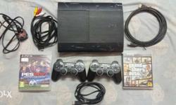 Black Sony PS3 Super Slim With Controller And Game
