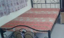 6 months old Black Steel 4�6 Bed Frame With Pink Floral