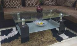 Black Wooden Frame Glass Table Top