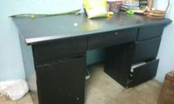 Black Wooden Pedestal Desk