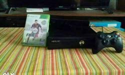 Black Xbox 360 Slim Console With Controller And Game