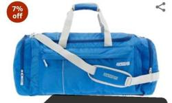 Blue And Black American Tourister Nylon Duffle Bag