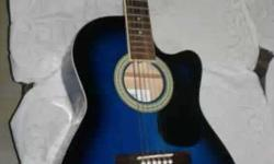 Blue And Black Cutaway Acoustic Guitar