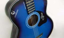 Blue and Black Pure Acoustic Guitar, hollow body for