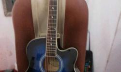 Blue And Black Single Cutaway Acoustic Guitar