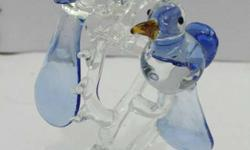 Blue And Clear Glass 2 Birds On Tree Figurine