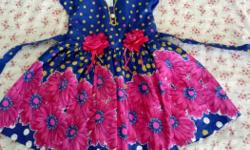 blue and magenta cotton frock with fancy flowers and