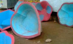 Blue And Pink Wooden Heart Shape Basin