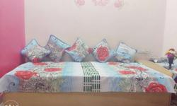 Blue And Red Floral-print Bedding Set