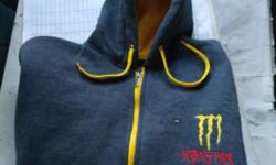 Blue And Yellow Monster Energy Zip Up Hoodie Jacket