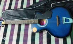 Blue Burst Cutaway Acoustic Guitar With Black Gig Bag
