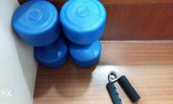 Blue Dumbbell is of 3kg each and one hand grip if