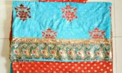 Blue And Beige double colour Saree. Detailed work of