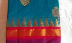 Blue Pink And Gold Textile