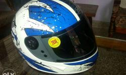 Blue White Full Face Helmet