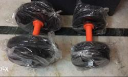 Pair Of Black And Red Dumbbells 8 plates 1kg each 2