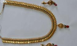 1 Gram Gold Wedding Necklace with Ear Ring set.