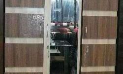 Brown And Beige Wooden Cabinet With Mirror