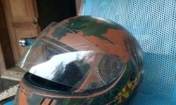 Brown And Green Printed Full Face Helmet