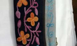 Brown, Blue, And Pink Floral Suede Wristlet