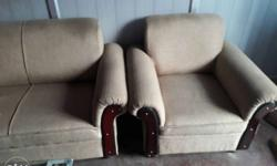 Brown Fabric Sofa Chair And Sofa