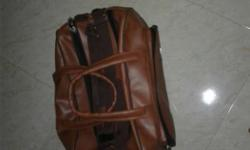 New Brown Leather trolly lugguage bag only one time
