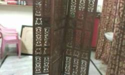 Brown Wooden 4-panel Room Divider