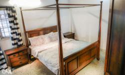 Brown Wooden Bed With bedsider. And Solid wood