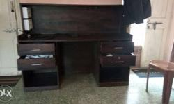 Customized Brown Wooden Desk, 4 Drawers with 2 Electric