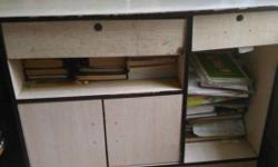 Brown Wooden Desk With Cabinet