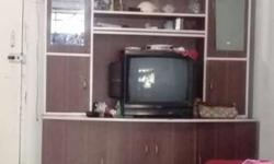 Brown Wooden Entetainment Center With CRT TV