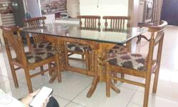 Brown Wooden Frame Glass Top Dining Table With Chairs