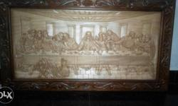 Brown Wooden Framed Art Of The Last Supper
