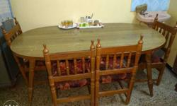 Brown Wooden Oval Table