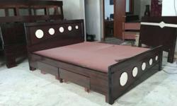 Brown Wooden Trundle Bed Frame