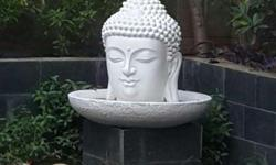 Buddha bust FIBER fountain, total height around 2 ft.