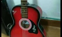 Red And Black acoustic Guitar with amazing sound