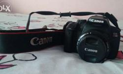 Canon 650D (2013) , with 55mm lens and camera bag