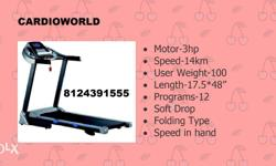 Cardioworld New treadmiill,3 hp.100 kg,automatic 25490
