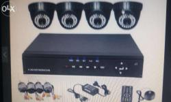 Cctv cameras 4 doms night vision 3 years warranty dvr