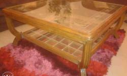 Solid Wooden Glass Top Mounted Centre table Size : 3 'x