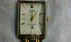 Citizen Silver And Gold Link Rectangular Face Analog